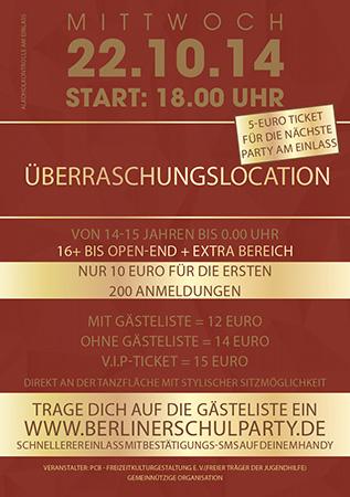 Berliner Schulparty, Flyer Rückseite