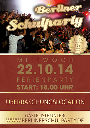 Berliner Schulparty, Flyer Vorderseite